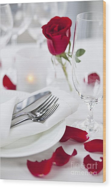 Romantic Dinner Setting With Rose Petals Wood Print