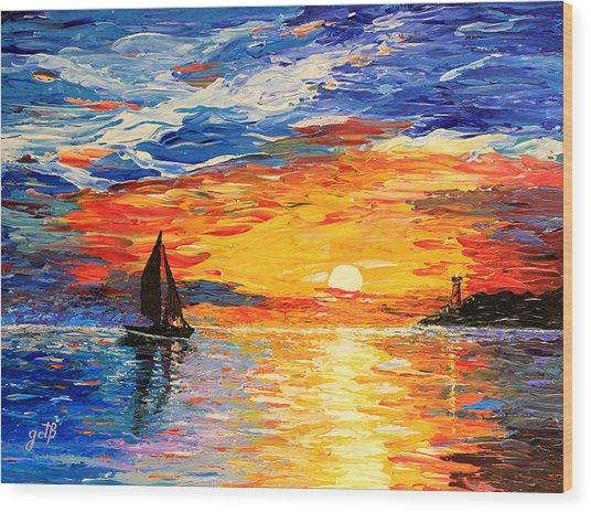 Wood Print featuring the painting Romantic Sea Sunset by Georgeta  Blanaru