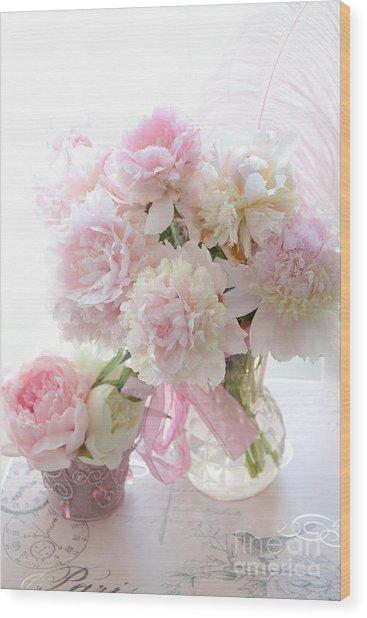 Romantic Shabby Chic Pink White Peonies - Shabby Chic Peonies Pastel Decor Wood Print