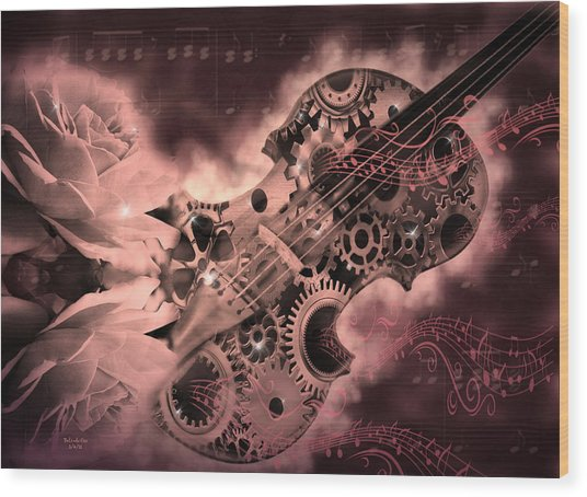 Romantic Stemapunk Violin Music Wood Print