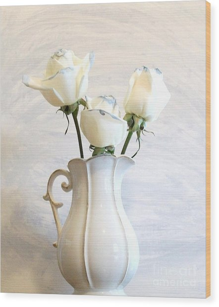 Romantic White Roses Wood Print