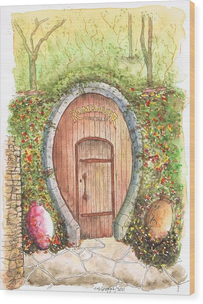 Rombauer Vineyard Entrance Door, California Wood Print