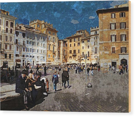 Rome - Piazza Della Rotunda Wood Print by Jen White