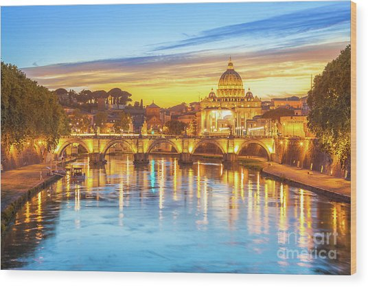 Rome At Twilight Wood Print