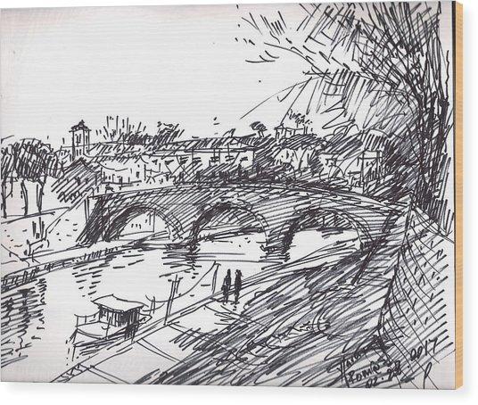 Bridge At Isola Tiberina Rome Sketch Wood Print