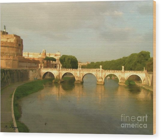 Rome The Eternal City And Tiber River Wood Print