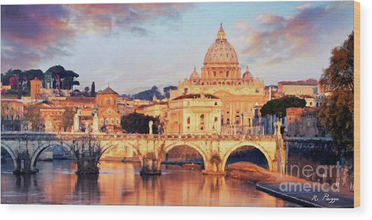 Rome The Eternal City - Saint Peter From The Tiber Wood Print