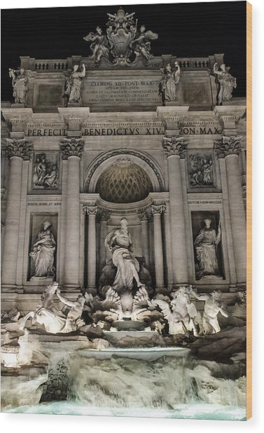 Rome - The Trevi Fountain At Night 3 Wood Print