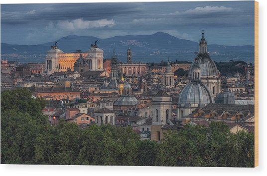 Rome Twilight Wood Print