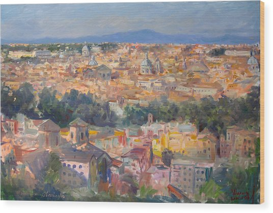 Rome View From Gianicolo Wood Print