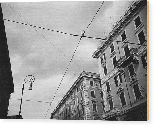 Rome's Downtown Cable Sky Wood Print