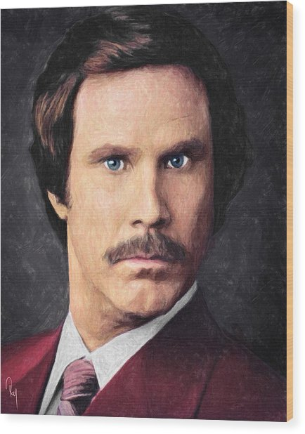 Ron Burgundy Wood Print