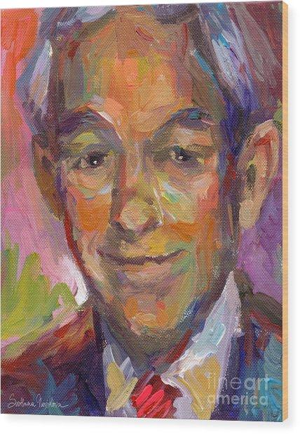 Ron Paul Art Impressionistic Painting  Wood Print