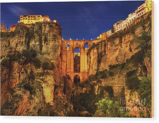 Ronda By Night Wood Print