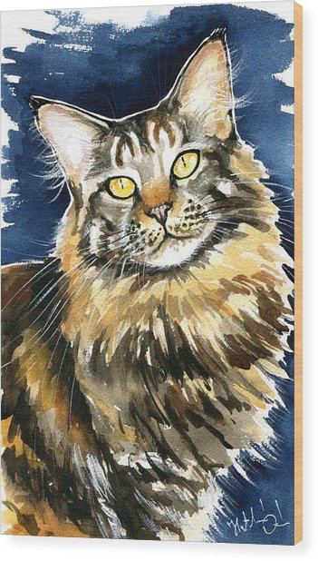 Ronja - Maine Coon Cat Painting Wood Print