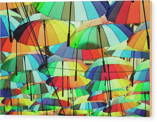Roof Made From Colorful Umbrellas Wood Print