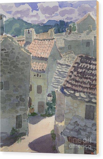 Roofs Of La Couvertoirade Wood Print
