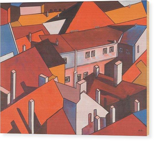Roofs Of Prague Wood Print
