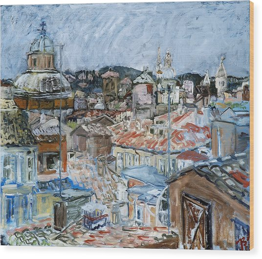Roofs Of Rome Wood Print by Joan De Bot