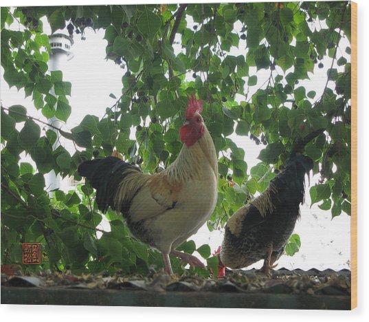 Rooftop Roosters Wood Print