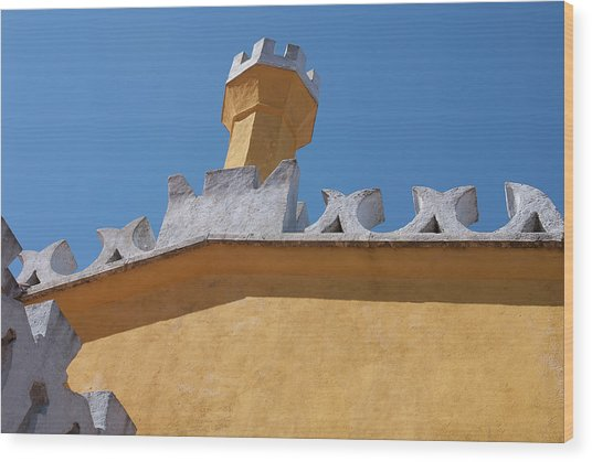 Rooftop Study Of Pena Palace -sintra, Portugal Wood Print by Connie Sue White