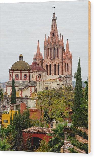 Rooftop View Of La Parroquia De San Miguel Arcangel Wood Print