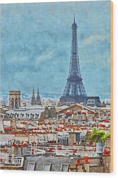 Rooftops In Paris And The Eiffel Tower Wood Print