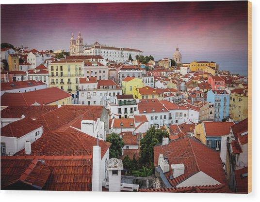 Rooftops Of Alfama Lisbon  Wood Print