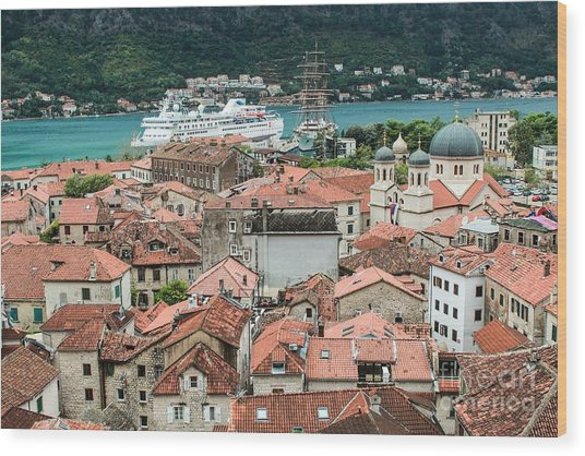 Rooftops Of Kotor  Wood Print