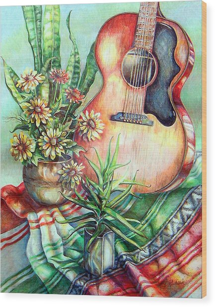 Room For Guitar Wood Print