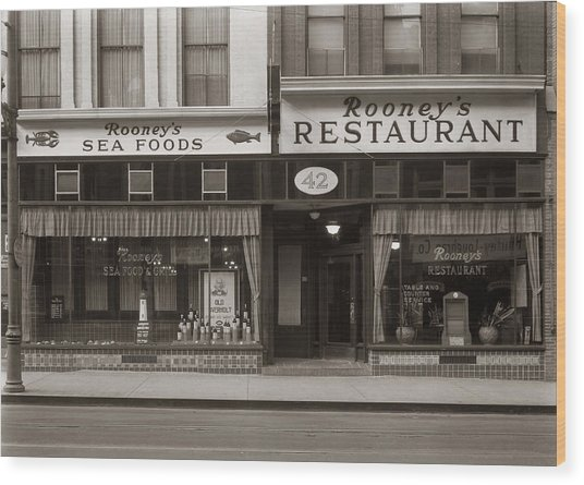 Rooney's Restaurant Wilkes Barre Pa 1940s Wood Print