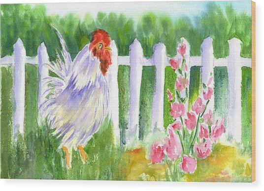 Rooster 05 Wood Print by Ruth Bevan