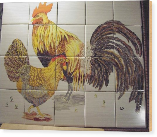 Rooster And Hen Wood Print
