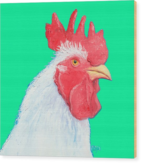 Rooster Art On Green Background Wood Print