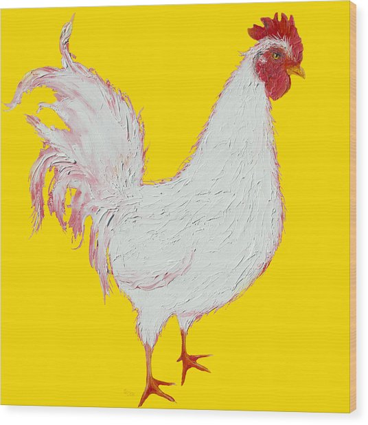Rooster Art On Yellow Background Wood Print
