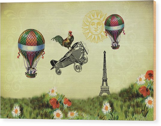 Rooster Flying High Wood Print