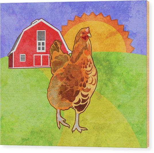 Rooster Wood Print by Mary Ogle