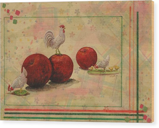 Rooster Wood Print by Sandy Clift