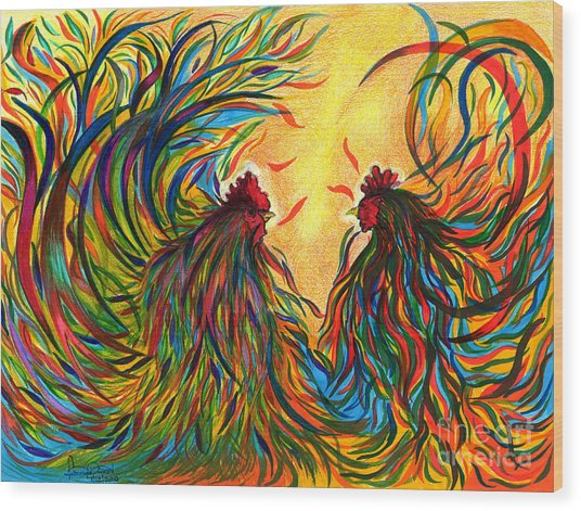 Roosters Frienship Wood Print