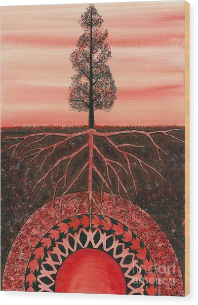 Root Chakra Wood Print by Catherine G McElroy