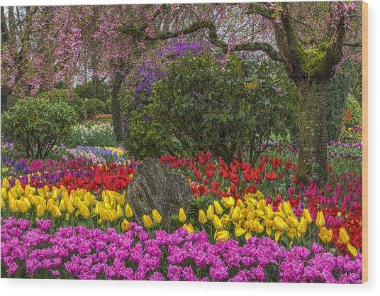 Roozengaarde Flower Garden Wood Print