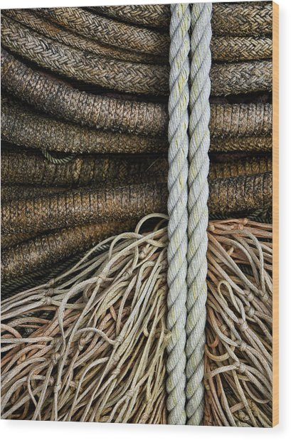 Ropes And Fishing Nets Wood Print