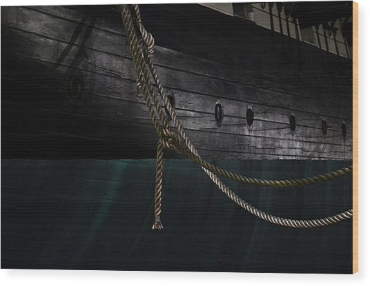 Ropes On The Uss Constellation Navy Ship Wood Print