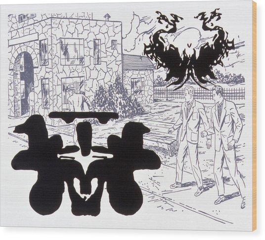 Rorschach 3 Angel Of Death Wood Print by Karl Frey