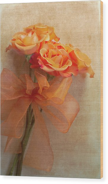 Rose Bouquet Wood Print by Rebecca Cozart