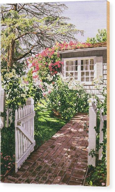 Rose Cottage Gate Wood Print