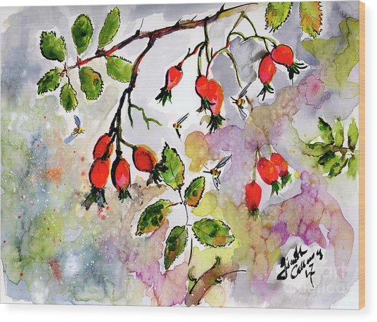 Rose Hips And Bees Watercolor And Ink Wood Print