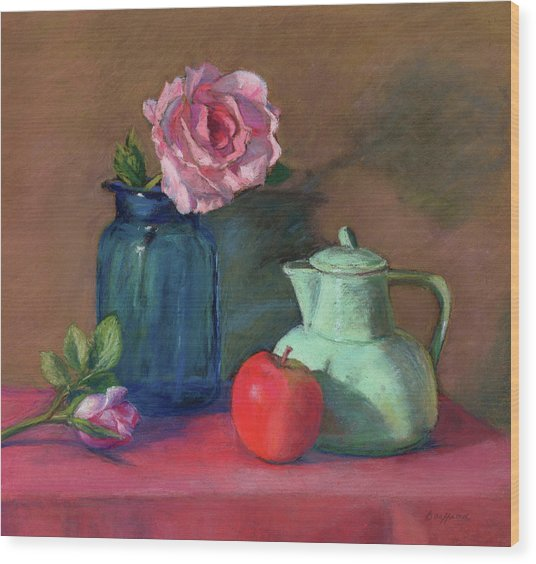 Rose In Blue Jar Wood Print