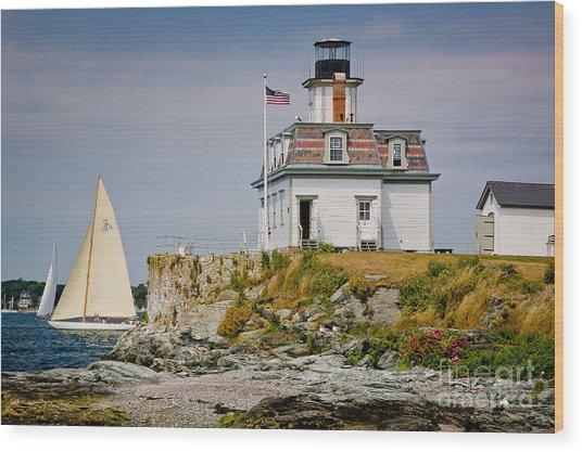 Rose Island Light Wood Print
