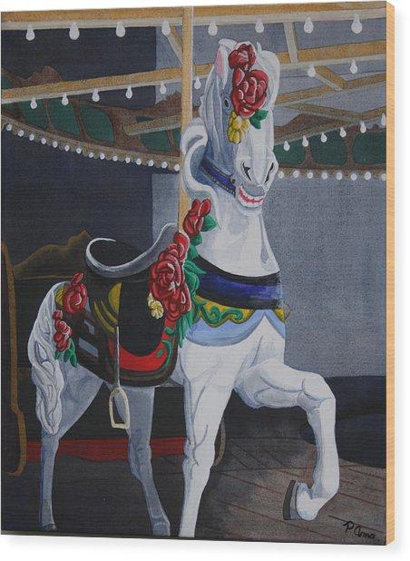 Rose Lead Horse Wood Print
